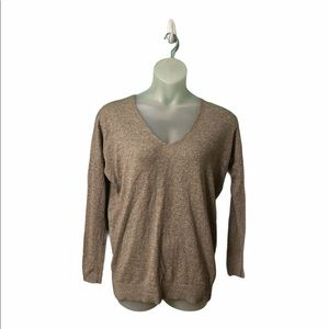 Express Brown/Tan V-neck Pullover Long Sleeve Top Size Large